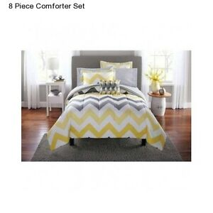 New Yellow Grey King Size Comforter Set Bedding Bedspread With