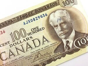 1975-Canada-100-Dollar-Circulated-AJX-Crow-Bouey-Replacement-Banknote-R207