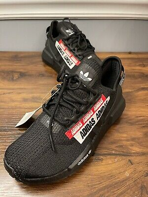 Adidas NMD R1 V2 SHOES Core Black/ Red New in Box H01589 Size US 5 | eBay