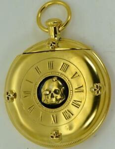 UNIQUE-Victorian-18k-gold-plate-pocket-watch-shape-MEMENTO-MORI-SKULL-Vesta-Case
