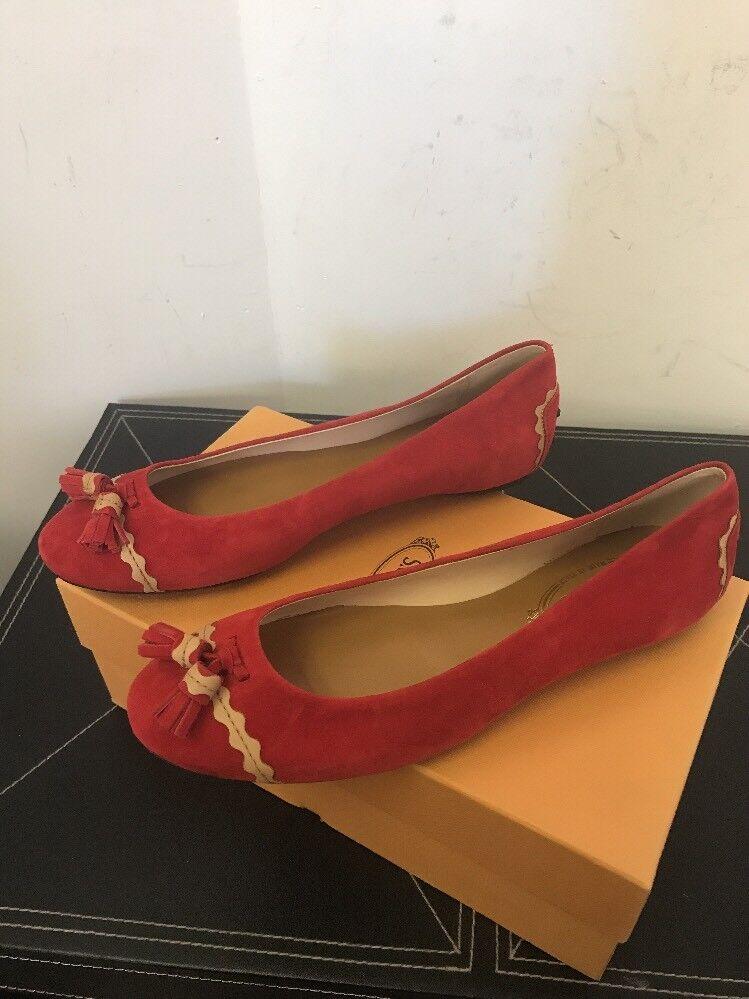 New Tod's Red Suede Tassel Ballerina Flats EU SZ 49  598