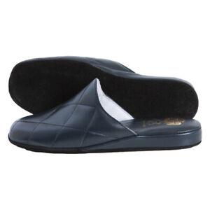 Pantofole Uomo Lusso con Tomaia-Fodera-Sottopiede in VERA PELLE Blu Chiuse