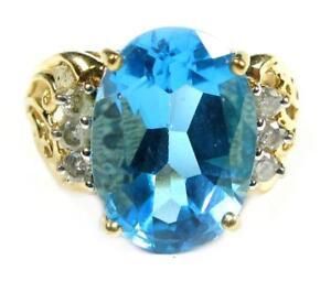 Estate-Women-039-s-Engagement-Cocktail-Ring-5-3CT-Blue-Topaz-Diamond-10K-Yellow-Gold