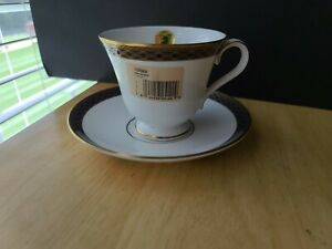 Waterford Powerscourt Footed Cup Saucer White Cream W Blue Gold Border Nwt Ebay