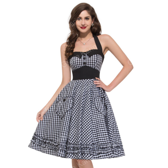 50er Jahre Abendkleid Rock N Roll Kleid Petticoat Jive Pin Up Dress