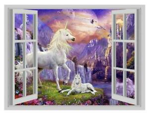 Fantasy-Unicorn-Island-1-3D-Window-Art-Wall-Sticker-Vinyl-Decal-Decor-Mural