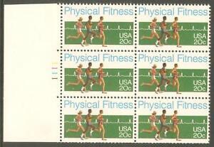 US-USA-Sc-2043-MNH-FVF-Pl-6-BLOCK-Physical-Fitness-Laeufer-Heartbeat