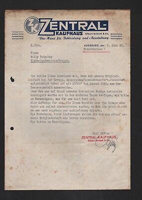 Brief 1940 Billiger Preis Augsburg SchöNe Lustre Zentral-kaufhaus Albert Golisch & Co