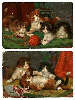 2 vintage cat postcards art adorable cats kittens play w wool yarn & doll 1910