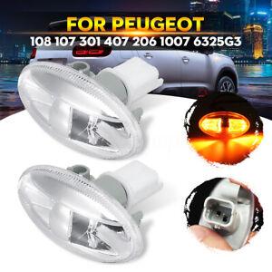 2x-LED-Clignotant-Repetiteur-Lateral-pour-Peugeot-1007-107-108-206-407-6325G3