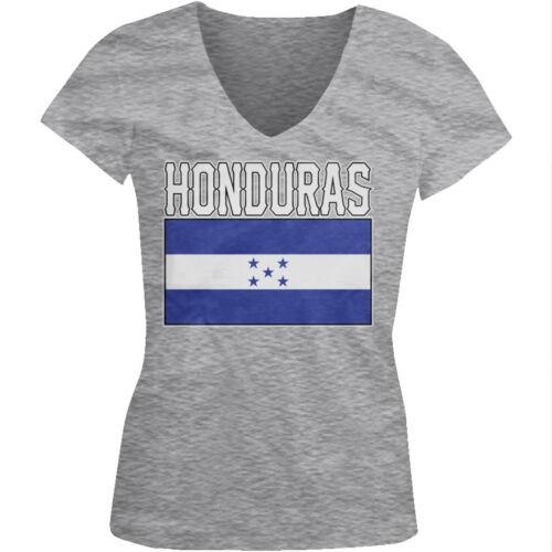 Honduras Flag Colors Font Honduran Soccer Heritage HND HN Juniors V-Neck T-Shirt