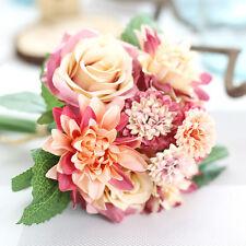 12 tall rose peony bouquet fuschia silk flowers artificial wedding artificialrose peony silk flowers leaf bouquet home floral wedding garden decor mightylinksfo