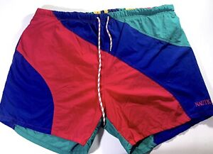 Vintage-90s-Nautica-Striped-Colorblock-Spell-Out-Swim-Shorts-Trunks-Mens-XL