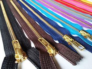 YKK-ZIP-ZIPPER-5-6-7-8-9-10-12-INCH-CLOSE-END-BRASS-GOLD-COLOUR-METAL-5mm-TEETH