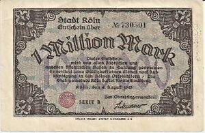 Duitsland-Koln-1-Million-mark-4-aug-1923-VF-serie-B