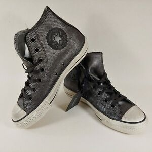 Converse-x-Varvatos-Chuck-Taylor-Hi-Metallic-Silver-Black-Womens-6-5-Mens-4-5