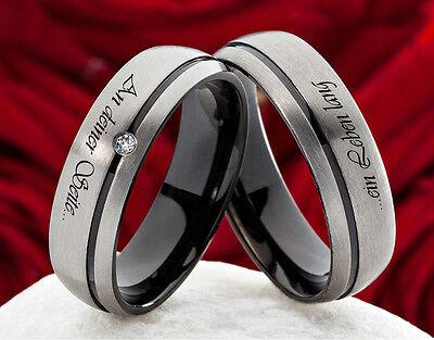 Eheringe Verlobungsringe aus Titan mit Zirkonia und Ihrer Lasergravur  H0137