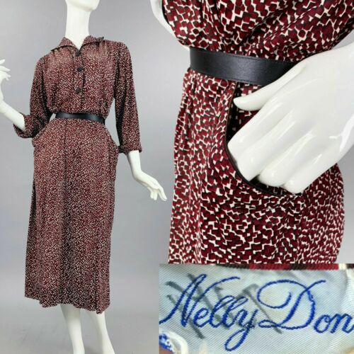 XL Vintage 1940s Nelly Don Burgundy Rayon Novelty