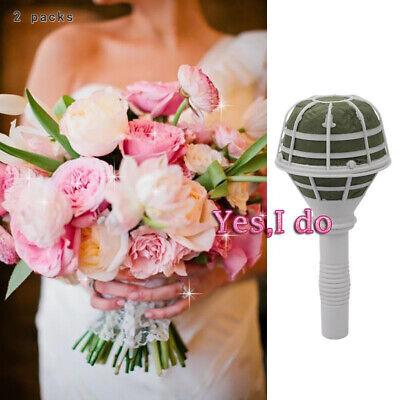 DIY Foam Bouquet Handle Bridal Wedding Flower Holder Decors  With Lace Trim ^F