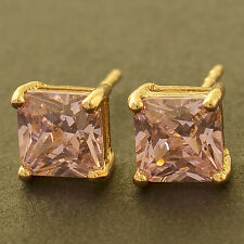 Girls Yellow Gold Filled Pink crystal Crystal Little Tiny Square Stud Earrings