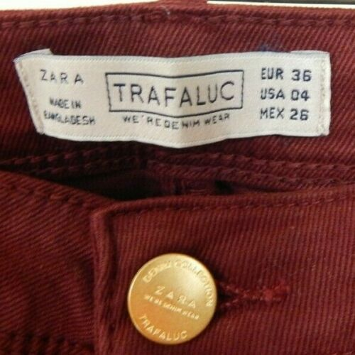 Details about  /Zara Trafaluc Women/'s 4 Jeans Burgundy Mid Rise Skinny Stretch EUC Free Ship