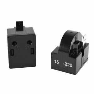 2Pcs Plástico Negro Carcasa 15 Ohmios Uno De Pin Refrigerador PTC Relé Arranque