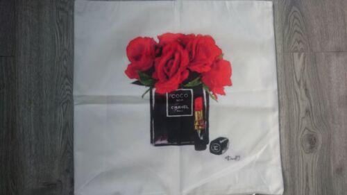 Peint à la main bouteille de parfum Fleurs Make Up 45x45 Taie d/'oreiller Housse de Coussin Gr