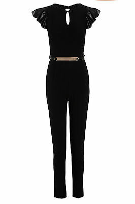 NEW WOMENS CONTRAST BLACK PVC FRILL CAP SLEEVE LADIES PARTY JUMPSUIT