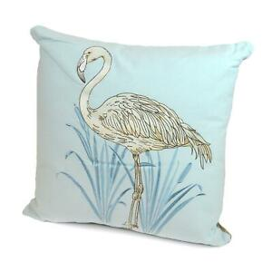 Flamingo-Cushion-Pillow-Embroidered-Cover-Case-Pale-Blue-Silver-Nature-Exotic