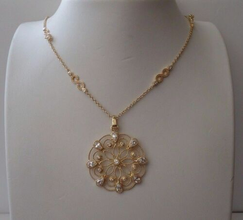 Cercle Fleur Design Collier avec Labo Diamants//YLW or sur argent sterling 925