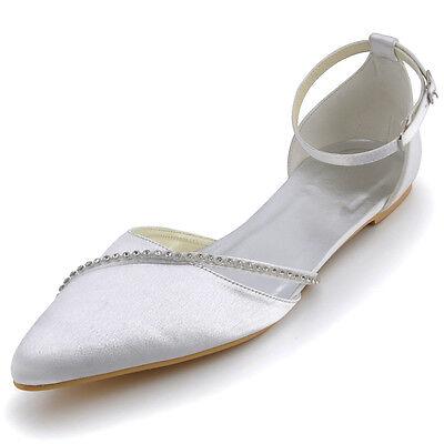 A670 Women Party Pointy Toe Flats Heel Rhinestones Buckles Satin Wedding Shoes