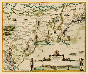 Old State Map Us East Coast Chesapeake Bay To Maine 1685 23 X