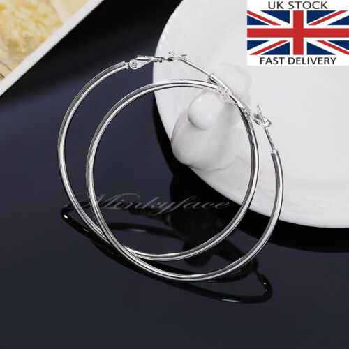 925 Sterling Silver plt 50mm Smooth Large Hoop Earrings 5cm Hooped UK SELLER