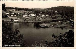 Saaldorf-Thueringen-DDR-s-w-Postkarte-1962-Gesamtansicht-Saaletalsperre-Schiff