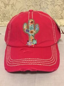 e95afef67470f Image is loading CACTUS-Embroidered-Floral-Design-Distressed-Baseball-Cap- Red-