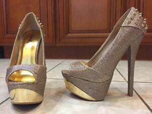 Stiletto Heels Gold 6 inch heels 2 inch Size 7 1 2 by Qupid No Box ...