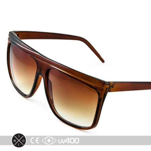 Trendy Large Brown Flat Top Matte Frame Retro Square Style 80s Sunglasses S007