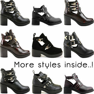 Ladies-Womens-Cut-Outs-Buckles-Chelsea-Chunky-Ankle-Block-Heel-Boots-Shoes-Size