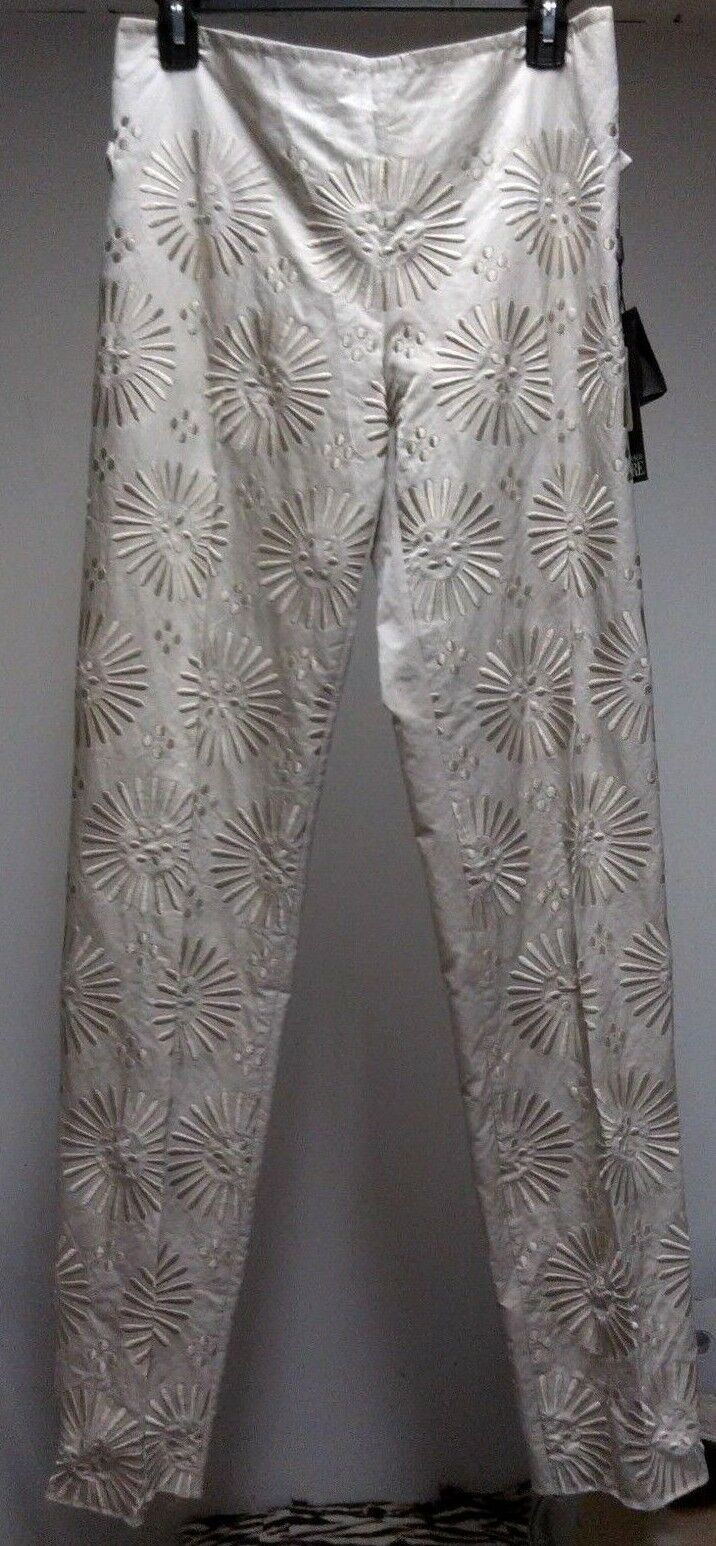 GIANFRANCO FERRE  1625 Embroidered SILK Cream Women Size Small S Trousers Pants