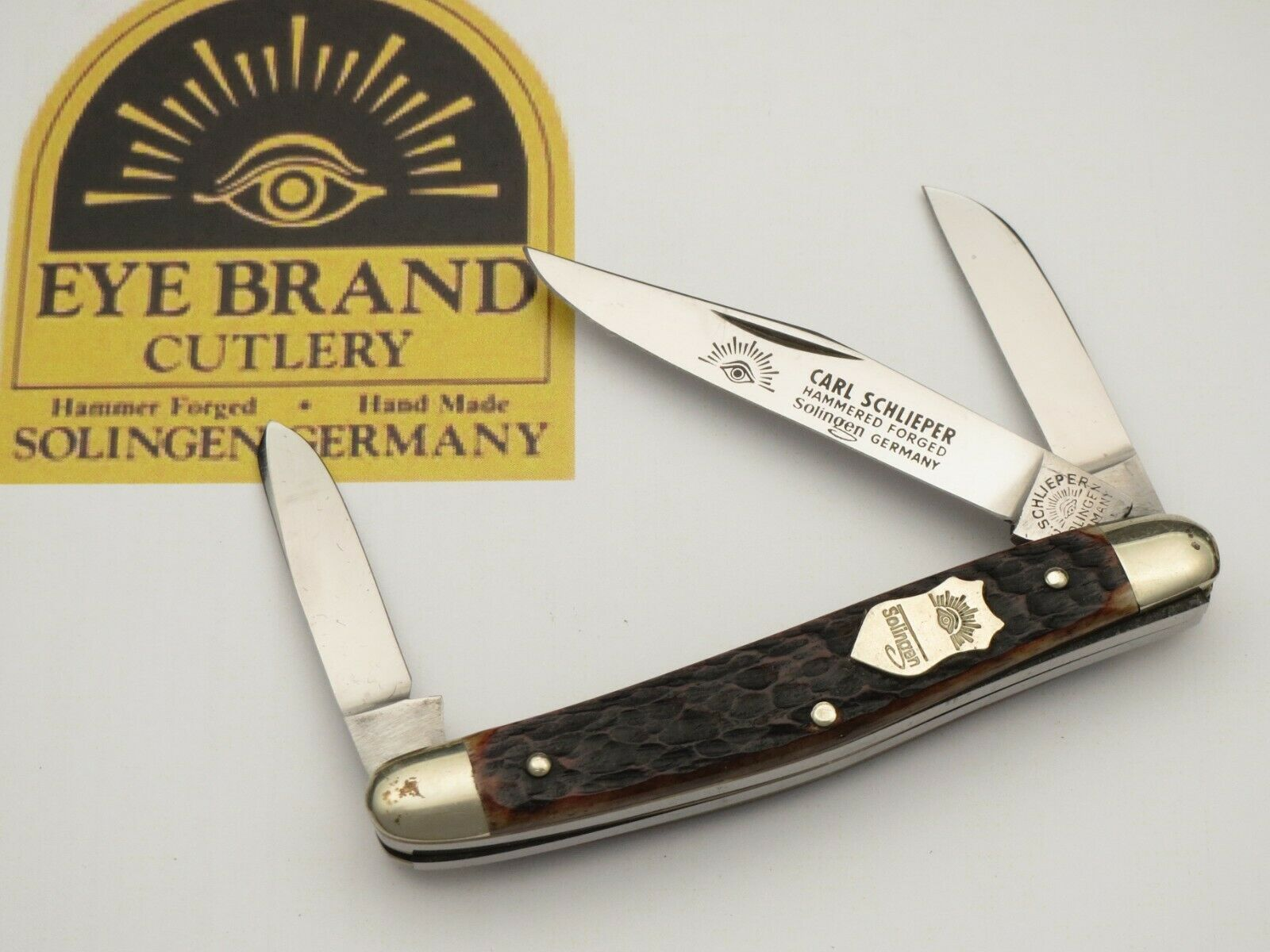 Vintage EYE BRAND Small Premium Stock Knife Nice Bone MINT