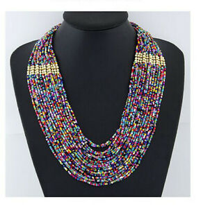 Necklace-Handmade-Statement-Beaded-Multi-Color-Seed-Strand-Chain-Beads-Choker