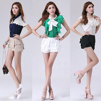 Summer Fashion Womens Chiffon Retro Pleated Casual waist Shorts Short Pants