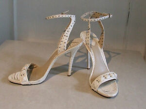 29b46073467 Details about Brian Atwood Designer Snakeskin Cream Leather High Heel  Stiletto Shoes Sandals