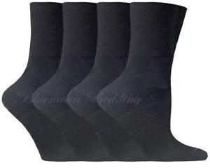 Mens 100/% Cotton Non-Elastic Loose Wide Top Socks 12 Pairs Size 6-11 UK Black
