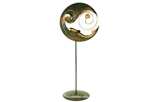 Teelichthalter Windlicht Mond mit Spirale 50cm Gold Plasma Handarbeit Bali KO20