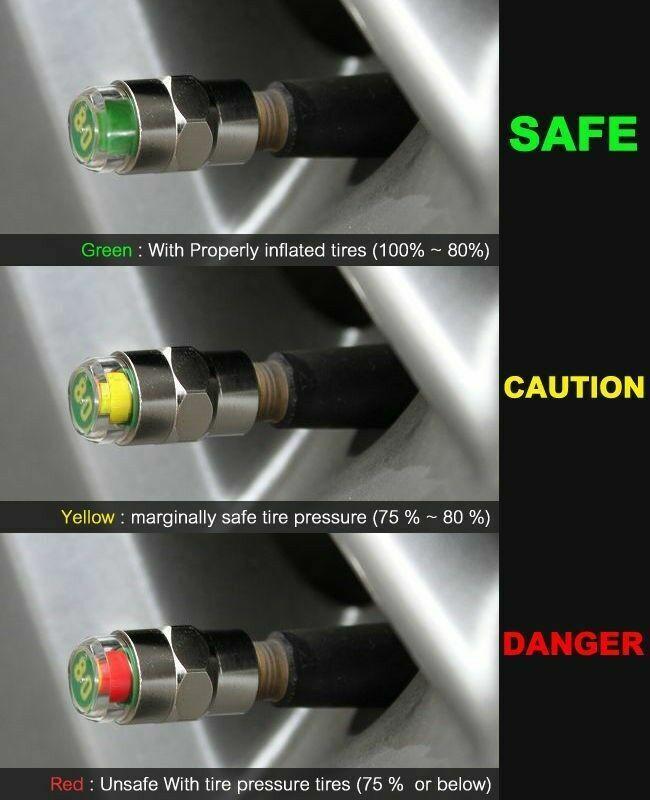 4 Pieces TPMS Tire Pressure Valve Stem Caps 3 Color Sensor Indicator 26-70 psi