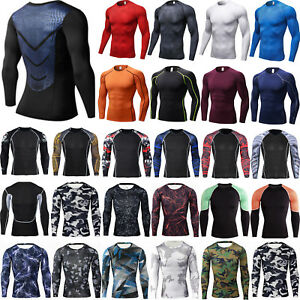 Men-T-Shirt-Compression-Long-Sleeve-Under-Base-Layer-Thermal-Sports-Tights-Tops