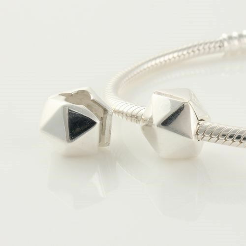 Solid Sterling Silver 925 Triangle Shaped Clip Bead for Charm Bracelet