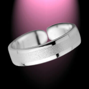 Hell Auffallender Schlichter Zehenring Zehring Diamantiert 925 Sterlingsilber Fuß