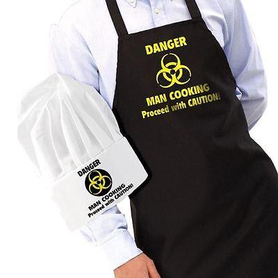 Danger homme de tablier cuisine et chapeau amusant Tablier de cuisine homme